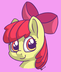 Size: 1105x1297 | Tagged: safe, artist:nwwe, apple bloom, earth pony, pony, adorabloom, cute, female, filly, looking at you, smiling, smiling at you, solo