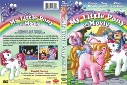 Size: 950x635   Tagged: safe, hydia, smooze (g1), earth pony, human, pony, g1, my little pony: the movie (g1), dvd cover, rhino home video, sunbow