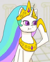 Size: 662x818 | Tagged: safe, artist:kvas!, princess celestia, alicorn, looking sideways, raised hoof, simple background, simple shading, solo