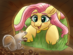 Size: 1890x1417 | Tagged: safe, artist:dandy, fluttershy, pegasus, pony, squirrel, acorn, atg 2021, blushing, bushy brows, cute, daaaaaaaaaaaw, duo, featured image, female, happy, heart eyes, looking at each other, mare, newbie artist training grounds, open mouth, open smile, shyabetes, smiling, smiling at each other, sweet dreams fuel, wingding eyes