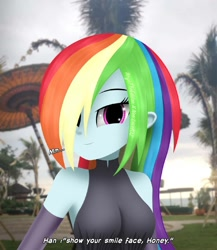 Size: 1080x1242 | Tagged: safe, artist:aryatheeditor, rainbow dash, equestria girls, armpits, bare shoulders, beach, beautisexy, breasts, busty rainbow dash, cute, equestria girls in real life, female, hair over one eye, indonesia, irl, looking at you, multicolored hair, photo, rainbow hair, sexy, sleeveless, smiling, smiling at you, smug, smugdash, solo