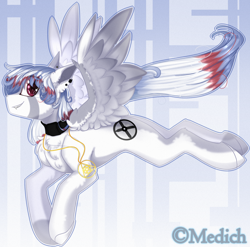 Size: 2466x2432 | Tagged: safe, artist:mediasmile666, oc, oc only, pegasus, pony, abstract background, choker, ear piercing, eye clipping through hair, eyebrows, eyebrows visible through hair, fangs, female, flying, grin, high res, jewelry, looking at you, mare, pendant, piercing, profile, smiling, smiling at you, solo, spread wings, wings