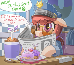 Size: 2290x2010   Tagged: safe, artist:nignogs, oc, oc only, oc:anon, oc:rough cuff, earth pony, human, pony, bendy straw, cherry, dialogue, diner, donut, donut shop, drinking straw, ears, eye clipping through hair, female, floppy ears, food, high res, mare, newspaper, offscreen character, pencil, police, police officer, police pony, police uniform, purple eyes, reading, reversed gender roles equestria, reversed gender roles equestria general, solo focus, straw, stuttering, sunglasses