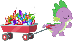 Size: 5261x3000 | Tagged: safe, artist:dashiesparkle, spike, dragon, .svg available, cart, eyes closed, gem, high res, male, simple background, smiling, solo, transparent background, vector, wagon, walking