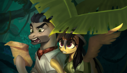 Size: 1800x1045   Tagged: safe, artist:switchsugar, daring do, doctor caballeron, earth pony, pegasus, pony, jungle, leaf, map