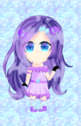 Size: 2658x4096 | Tagged: safe, artist:flatterslay, rarity, human, chibi, clothes, female, humanized, smiling, solo