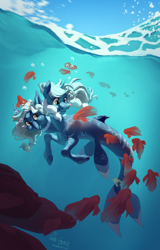 Size: 1600x2500 | Tagged: safe, artist:joan-grace, oc, oc only, oc:lunae, oc:stella, fish, hybrid, merpony, seapony (g4), bubble, commission, conjoined, conjoined twins, crepuscular rays, dorsal fin, female, fins, fish tail, flowing mane, multiple heads, ocean, red eyes, signature, sky, smiling, sunlight, swimming, tail, two heads, underwater, water, ych result