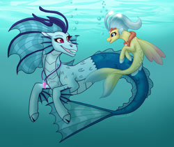 Size: 1024x865 | Tagged: safe, artist:tambelon, princess skystar, sonata dusk, seapony (g4), siren, my little pony: the movie, bioluminescent, blue mane, crepuscular rays, dorsal fin, female, fin wings, fins, fish tail, flowing mane, flowing tail, freckles, glow, jewelry, lesbian, looking at each other, necklace, ocean, open mouth, pearl necklace, purple eyes, shipping, signature, skynata, smiling, sunlight, swimming, tail, underwater, water, wings