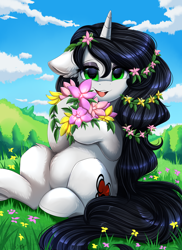 Size: 2550x3509 | Tagged: safe, artist:pridark, oc, oc only, oc:reinina hazard, pony, unicorn, commission, cutie mark, field, flower, green eyes, high res, horn, long hair, long mane, looking at you, open mouth, outdoors, sitting, solo, unicorn oc
