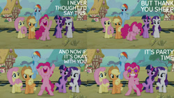 Size: 1280x720 | Tagged: safe, edit, edited screencap, editor:quoterific, screencap, applejack, fluttershy, pinkie pie, rainbow dash, rarity, twilight sparkle, alicorn, earth pony, pegasus, pony, unicorn, party pooped, season 5, ^^, applejack's hat, bipedal, cowboy hat, cute, dashabetes, diapinkes, eyes closed, female, flying, grin, hat, jackabetes, mane six, mare, nose in the air, open mouth, raribetes, shyabetes, smiling, sunglasses, twiabetes, twilight sparkle (alicorn), uvula, volumetric mouth