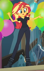 Size: 289x467 | Tagged: safe, screencap, sunset shimmer, all the world's off stage, equestria girls, equestria girls series, balloon, cropped, solo
