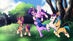 Size: 8000x4500   Tagged: safe, artist:faline-art, hitch trailblazer, izzy moonbow, pipp petals, sunny starscout, zipp storm, earth pony, pegasus, pony, unicorn, g5, absurd file size, absurd resolution, ball, coat markings, female, flying, grin, izzy's tennis ball, looking at each other, male, mane five (g5), mare, open mouth, quintet, running, smiling, socks (coat markings), stallion, tennis ball, tree, unshorn fetlocks