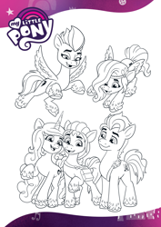 Size: 1654x2339 | Tagged: safe, hitch trailblazer, izzy moonbow, pipp petals, sunny starscout, zipp storm, earth pony, pegasus, pony, unicorn, g5, official, black and white, coloring page, female, grayscale, male, mane five (g5), mare, monochrome, open mouth, smiling, stallion, text