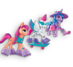 Size: 1191x1102 | Tagged: safe, izzy moonbow, sunny starscout, zipp storm, earth pony, pegasus, pony, unicorn, g5, my little pony: a new generation, official, female, hat, mare, roller skates, simple background, skateboard, sunglasses, toy, transparent background, twilight sparkle's cutie mark