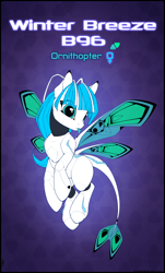 Size: 3770x6253 | Tagged: safe, artist:xn-d, oc, oc only, oc:winter breeze, original species, pony, ponymorph, robot, robot pony, :p, abstract background, absurd resolution, butterfly wings, eye clipping through hair, female, flying, reference sheet, solo, text, tongue out, wings