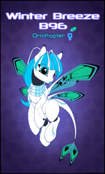 Size: 3770x6253 | Tagged: safe, alternate version, artist:xn-d, oc, oc only, oc:winter breeze, original species, pony, ponymorph, robot, robot pony, :p, abstract background, absurd resolution, butterfly wings, clothes, eye clipping through hair, female, flying, reference sheet, scarf, solo, text, tongue out, wings