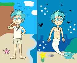 Size: 1656x1360 | Tagged: safe, artist:ocean lover, terramar, bird, fish, human, merboy, mermaid, merman, octopus, starfish, belly button, bubble, chest, clothes, cute, duality, fins, fish tail, flower, hill, humanized, jewelry, male, mermaidized, necklace, ocean, pearl necklace, rock, sand, seaweed, shirt, shorts, species swap, stingray, t-shirt, underwater