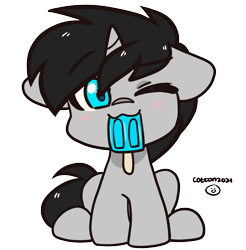 Size: 1969x2000 | Tagged: safe, artist:cottonsweets, oc, oc:cyan delta, unicorn, cute, floppy ears, food, male, one eye closed, popsicle, solo, ych result