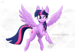 Size: 1600x1174 | Tagged: safe, artist:nightfury2020, twilight sparkle, alicorn, pony, >:3, abstract background, female, mare, solo, spread wings, twilight sparkle (alicorn), wings