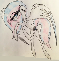 Size: 2267x2341 | Tagged: safe, artist:beamybutt, oc, oc only, pegasus, pony, eyelashes, female, mare, pegasus oc, rearing, signature, solo, traditional art, wings