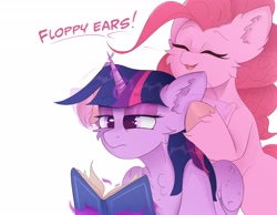 Size: 4096x3186 | Tagged: safe, artist:ponyangle, pinkie pie, twilight sparkle, alicorn, earth pony, pony, book, cheek fluff, chest fluff, duo, ear fluff, female, floppy ears, fluffy, funny, magic, mare, simple background, text, twilight is not amused, twilight sparkle (alicorn), unamused, unshorn fetlocks, white background