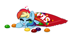 Size: 5462x3067   Tagged: safe, artist:kittyrosie, rainbow dash, pegasus, pony, :p, blushing, candy, cute, dashabetes, eyes closed, floating heart, food, happy, heart, micro, redraw, skittles, smiling, taste the rainbow, tongue out, weapons-grade cute