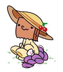 Size: 728x836 | Tagged: safe, artist:paperbagpony, oc, oc:paper bag, earth pony, pony, blushing, cherry, cute, fake cutie mark, female, food, grass, hat, mare, ocbetes, sitting