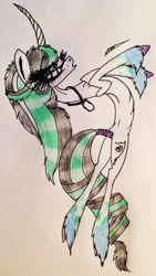 Size: 1641x2905 | Tagged: safe, artist:beamybutt, oc, oc only, pony, unicorn, commission, curved horn, eyelashes, female, horn, jewelry, mare, necklace, rearing, signature, traditional art, unicorn oc, ych result