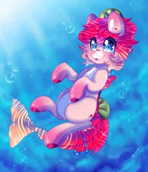 Size: 1693x1958 | Tagged: safe, artist:kefico, oc, oc only, merpony, blue eyes, bubble, commission, crepuscular rays, fish tail, looking up, ocean, pink mane, solo, sparkles, sunlight, tail, tongue out, underwater, water, wingding eyes, ych result