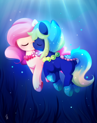 Size: 800x1018 | Tagged: safe, artist:exceru-karina, pony, blue mane, bubble, commission, crepuscular rays, eyes closed, female, flower, jewelry, looking at each other, necklace, ocean, pearl necklace, pink mane, seaweed, smiling, sunlight, underwater, unshorn fetlocks, water, ych result