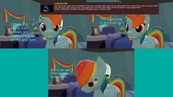 Size: 3840x2160 | Tagged: safe, artist:sexy rd, rainbow dash, pegasus, pony, series:ask sexy rainbow dash, 3d, alternate universe, ask, butt, comic, female, happy, high res, large butt, mare, plot, rainbow dash's bedroom, rainbow dash's house, rainbutt dash, revamped ponies, room, solo, source filmmaker
