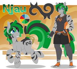 Size: 5500x5000   Tagged: safe, artist:tatemil, oc, oc only, oc:njau, zebra, anthro, plantigrade anthro, abs, absurd resolution, anthro oc, anthro with ponies, clothes, colored pupils, commission, ear fluff, eye clipping through hair, eyebrows, eyebrows visible through hair, fingerless gloves, gloves, green hair, grin, gym shorts, hand on hip, leggings, looking back, male, male oc, multicolored hair, muscles, pecs, raised tail, reference sheet, shorts, smiling, solo, stallion, tail, torn ear, zebra oc