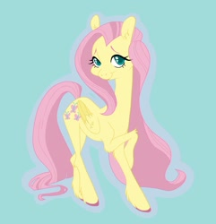 Size: 1575x1633 | Tagged: safe, artist:twistygrins, fluttershy, pegasus, pony, colored hooves, crossed hooves, elbow fluff, female, folded wings, head turned, hoof fluff, looking at you, mare, outline, simple background, smiling, solo, standing, teal background, three quarter view, unshorn fetlocks, wings