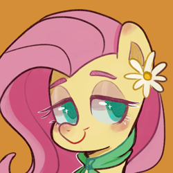 Size: 1280x1280 | Tagged: safe, artist:meowmeows4872, fluttershy, pony, blushing, bust, eyebrows, female, flower, lidded eyes, looking sideways, mare, neckerchief, orange background, portrait, simple background, smiling, solo, three quarter view