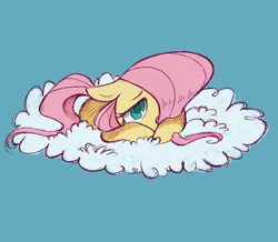 Size: 1280x1114 | Tagged: safe, artist:meowmeows4872, fluttershy, pony, cloud, female, floppy ears, hair over one eye, looking at you, lying down, on a cloud, prone, simple background, solo, teal background, younger, younger fluttershy