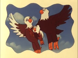 Size: 2160x1620 | Tagged: safe, screencap, weston, weston's father, weston's mother, bald eagle, bird, eagle, g1, my little pony 'n friends, spike's search, cute, parent, weston's parents, westonbetes, wholesome
