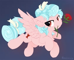 Size: 1280x1046 | Tagged: safe, artist:hioshiru, cozy glow, pegasus, pony, chest fluff, cozybetes, cute, ear fluff, feather, female, filly, flower, flower in mouth, fluffy, rose, rose in mouth, solo, wings