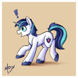 Size: 2000x2000 | Tagged: safe, artist:supermoix, shining armor, pony, unicorn, cute, exclamation point, happy, male, simple background, solo, stallion, walking