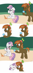 Size: 1280x2803 | Tagged: safe, artist:agent-diego, button mash, sweetie belle, earth pony, pony, unicorn, awww, blushing, buttonbetes, colored, crying, cute, diasweetes, digital art, female, flat colors, food, ice cream, kissing, male, shipping, straight, sweetiemash