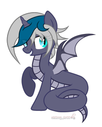 Size: 1600x2000   Tagged: safe, alternate version, artist:angelina-pax, oc, oc:elizabat stormfeather, alicorn, bat pony, bat pony alicorn, lamia, original species, pony, snake, snake pony, alicorn oc, bat pony oc, bat wings, bedroom eyes, commission, female, grin, horn, lamiafied, mare, raised hoof, simple background, smiling, solo, species swap, transparent background, wings, ych result