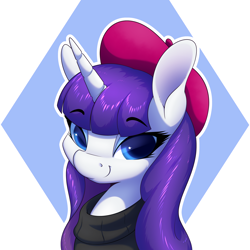 Size: 2600x2600 | Tagged: safe, artist:aquaticvibes, rarity, pony, unicorn, alternate hairstyle, beatnik rarity, beret, bust, clothes, eyebrows, eyebrows visible through hair, female, hat, high res, looking at you, loose hair, mare, simple background, smiling, smiling at you, solo, sweater, white background, white outline