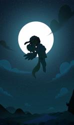 Size: 1920x3244 | Tagged: safe, artist:heavysplatter, tree hugger, zephyr breeze, earth pony, pegasus, pony, female, flying, full moon, high res, kissing, male, mare, moon, shipping, silhouette, stallion, straight, zephyrhugger