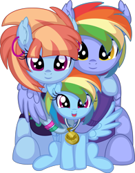 Size: 6312x8041 | Tagged: safe, artist:cyanlightning, bow hothoof, rainbow dash, windy whistles, pegasus, pony, .svg available, absurd resolution, bowabetes, clothes, cute, dashabetes, ear fluff, ear piercing, earring, family, father and child, father and daughter, female, filly, filly rainbow dash, folded wings, happy, hug, husband and wife, jewelry, looking at you, male, mare, medal, mother and child, mother and daughter, parent and child, piercing, simple background, smiling, spread wings, stallion, transparent background, vector, windybetes, winghug, wings, young, younger