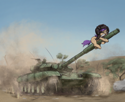 Size: 2124x1736 | Tagged: safe, artist:t72b, oc, oc:tenk pone, earth pony, pony, drive me closer, dust, eyes closed, hat, helmet, holding, knife, meme, mouth hold, peace was never an option, solo, t-72, tank (vehicle), tree, warhammer (game), warhammer 40k