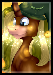 Size: 2480x3508   Tagged: safe, artist:chazmazda, firefly, oc, alicorn, earth pony, firefly (insect), insect, mantis, pegasus, pony, unicorn, bell, border, fluffy, half body, hat, highlighed, highlight, highlights, horn, light, lighting, photo, shade, shading, shine, shiny, simple background, smiling, solo