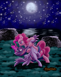 Size: 1183x1493 | Tagged: safe, artist:halsenbert, pinkie pie, twilight sparkle, alicorn, earth pony, pony, belly button, bipedal, dancing, female, full moon, glowing horn, horn, lesbian, looking at each other, moon, night, shipping, twilight sparkle (alicorn), twinkie