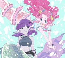 Size: 2044x1822   Tagged: safe, artist:5mmumm5, maud pie, pinkie pie, mermaid, starfish, equestria girls, equestria girls series, bracelet, bubble, cute, diapinkes, duo, female, fins, jewelry, maudabetes, mermaidized, necklace, open mouth, pie sisters, siblings, sisters, smiling, species swap, underwater, water, when she smiles