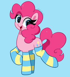 Size: 3910x4264   Tagged: safe, artist:kittyrosie, pinkie pie, earth pony, pony, absurd resolution, blue background, clothes, cute, diapinkes, female, happy, looking at you, mare, open mouth, open smile, redraw, simple background, smiling, smiling at you, socks, solo, starry eyes, stockings, striped socks, thigh highs, wingding eyes