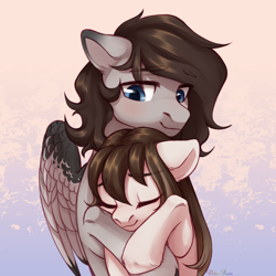 Size: 2500x2500 | Tagged: safe, artist:nika-rain, oc, oc only, oc:hickory, oc:vantage, earth pony, pegasus, pony, commission, cute, female, male, simple background, sketch, ych result