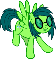 Size: 525x548 | Tagged: safe, artist:pegasski, oc, oc only, pegasus, pony, base used, female, grin, mare, pegasus oc, simple background, smiling, solo, sunglasses, transparent background, wings